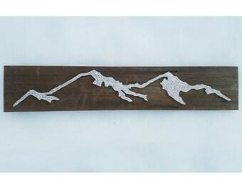 String Art Mountain Silhouette   Mountain on Reclaimed Wood