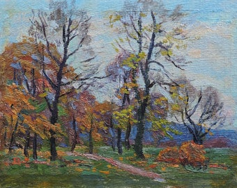 AUTUMN FOREST LANDSCAPE Vintage Original Oil Painting by a Soviet Ukrainian artist M.Borymchuk 1970s, Impressionist art, Woodland scenery