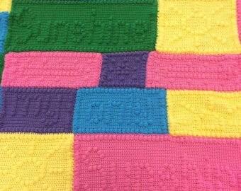 "Handmade crochet blanket ""you are my sunshine"" afghan"