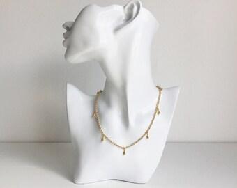 SALE - Gold Rolo Chain Teardrop Choker Necklace