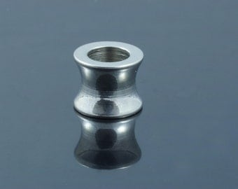 Stainless Steel Large Hole Column Beads. 10x8mm.  Hole 6mm