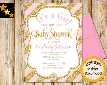 "Baby Shower Invitation, Girl, Pink and Gold, Diagonal Stripes, INSTANT download, EDITABLE in Adobe Reader, DIY, Printable, 5""x7"""