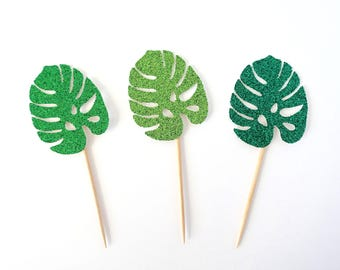 Monstera Leaf Cupcake Toppers - Set of 12 - Tropical Party Decor, Hawaiian Party, Luau Party Decor