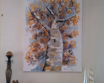 Acrylic Abstract,Modern,Autumn tree,Warm color,Gold, Orange,Tree,Perspective,Unity, leaves, Single tree, gift, congrats, thanks