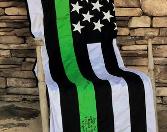 Thin Green Line - Federal Agents Quilt - Bordered Patrol - Park Rangers - American Flag Quilt - Border Agent Quilt - Thin Green Line Quilt
