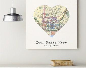 Custom Cincinnati Heart My City Map Canvas Art