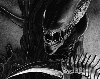 Xenomorph - Alien Charcoal Drawing Print