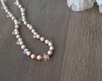 Handmade Orange and Clear Swarovski Crystal Pearl Necklace