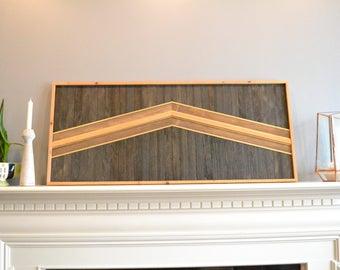 Wood wall art, twin headboard, brown/black/natural/gold, rooftop, arrow, decor, panel, pine, cedar, lath 21in x 48in