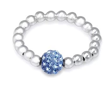 Sterling Silver Stretch Ring - Periwinkle Blue Shamballa