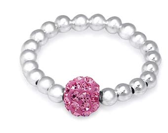 Sterling Silver Stretch Ring - Rose Pink Shamballa
