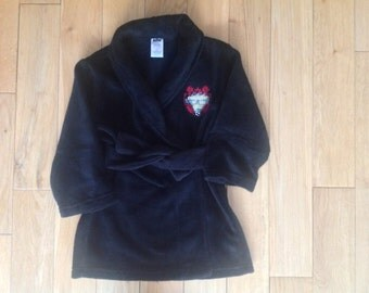 Cute Personalised Boys Black Fluffy Football Dressing Gown, Bath Robe, Age 2-3 Perfect Christmas Gift