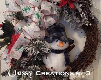 Snowman Wreath, Christmas Wreath, Holiday Wreath, Grapevine Wreath, Christmas Decor, Holiday Decor, Grapevine Wreath with Snowman