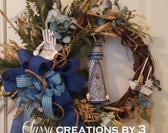 Nautical Wreath, Lighthouse Wreath, Grapevine Wreath, Seashore Wreath, Summer Wreath