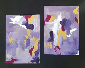 Set of 2 Small Abstract Painting, Faux Gold Leaf Art, Gold Painting, Original Purple Acrylic Art, Canvas Wall Art,