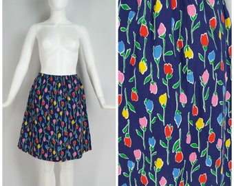 Vintage Womens 1970s / Early 1980s Floral Print Skirt / Skort with Built In Shorts | Size S