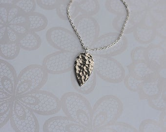 Hammered Leaf.....Sterling Silver Delicate Hammered Leaf Necklace