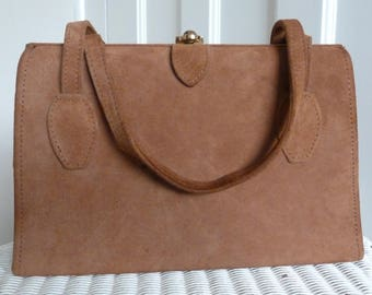 Vintage 1960s Brown Suede Handbag