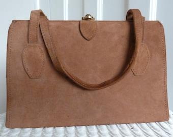 Vintage 1960s Brown Suede Handbag