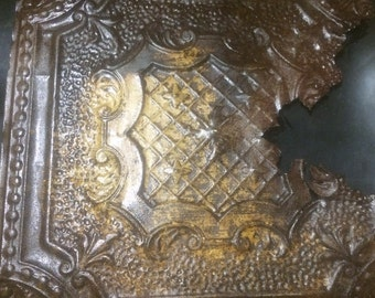 Reclaimed Salvaged Ceiling Tin Tile 2' x 2'/ Vintage West TX ceiling Tin