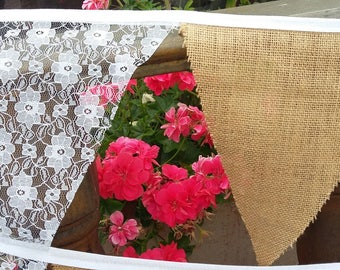 Wedding Bunting, Hessian and Lace. Hessian / Burlap And Lace Wedding / Garden party / Bunting