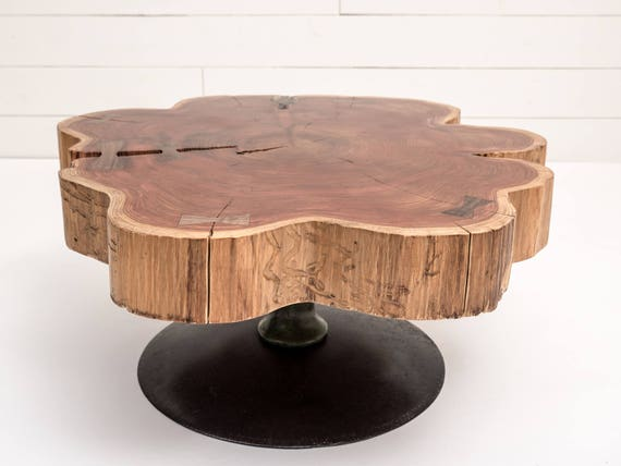 Items Similar To Cedar Round Coffee Table Live Edge Cedar Table Industrial Rustic Coffee Table