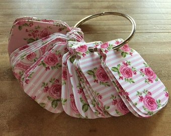 Shabby chic rose mason jar tags / washi tape holder / gifts / journaling / tags/ mason jar / planner supplies / planner accessories