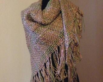 Beautiful,Boho, Handwoven, 6' Triangle Shawl!