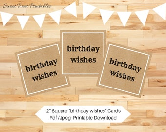 Printable mini birthday cards, kraft small birthday card, birthday favor tags, printable birthday tags, note cards, birthday wishes