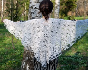 gray shawl, lace shawl, Hand Knit Shawl, Rustic Knit Lace Wedding Shawl, Womens Knit Shawl, Knit Shawl, womens gift