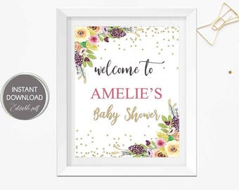 Baby shower welcome sign, Floral baby shower, Welcome sign baby shower, welcome sign for baby shower, instant download, editable pdf sign