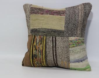 Large Kilim Pillow 20x20 Fllor Pillow Sofa Pillow Turkish Patchwork Kilim Pillow Boho Decor Pillow Throw Pillow SP5050-1110
