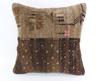 Handmade Turkish Rug Pillow 18X18 Rug Pillow Vintage Rug Pillow Anatolian Turkish Carpet Pillow Sofa Pillow Decorative Pillow SP4545-1234