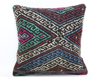 turkish anatolian pillow 16x16 embroidered pillow 16x16 ethnic pillow kilim cushion cover SP4040-2274