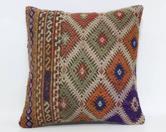 Embroidered Kilim Pillow 16x16 Handmade Kilim Pillow Throw Pillow Vintage Kilim Cushion Kilim Pillow Decorative Kilim Pillow  SP4040-2378