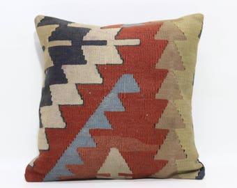 Turkish Kilim Pillow Sofa Pillow Ethnic Pillow 18x18 Handwoven Kilim Pillow Throw Pillow Home Decor Cushion Cover  SP4545-1474
