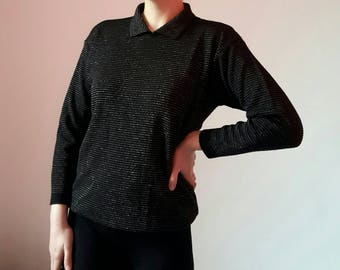 Cacharel Black Silver Wool Sweater
