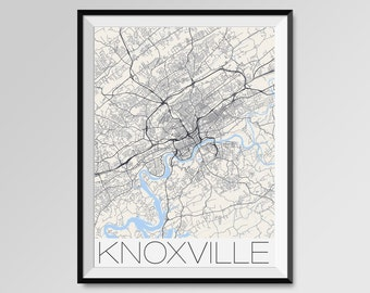 Knoxville City Map Print Modern City Poster University Of Tennessee Black And White