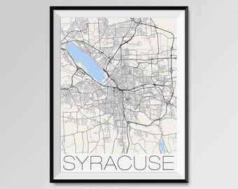 SYRACUSE New York Map, Syracuse City Map Print, Syracuse Map Poster, Syracuse Wall Map Art, Syracuse gift, Syracuse University, New York