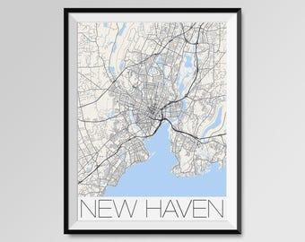 New Haven Connecticut Map, New Haven City Map Print, New Haven Map Poster, New Haven Wall Map Art, Yale University, Quinnipiac University
