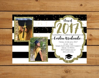Black, White, and Gold glitter Graduation Invitation in English or Spanish - with photo!