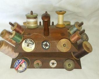 Primitive wooden thread spool holder
