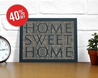 Home Sweet Home Board Laser Engraved Poster. 8x10""