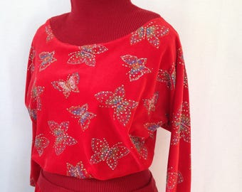 1980s red velour and knit day dress with glitter butterflies