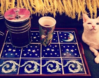 Extra large moon, stars, ocean tile tray / 13x17 / wedding gift / gift for mom / bathroom decor / bohemian / beach / mexican tile