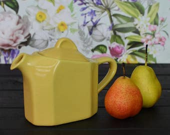Mid Century Golden Mustard Square Tea Pot for One