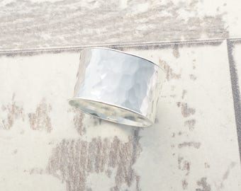 Wide Hammered Ring, Wide Hammered Silver Band, Silver Cuff Ring, Hammered Silver Band, Wide Band, Statement Ring, Hammered Silver, Wide Band