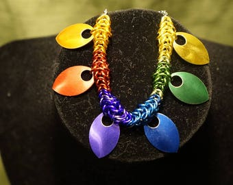 Rainbow pride chainmail bracelet with scale embellishment