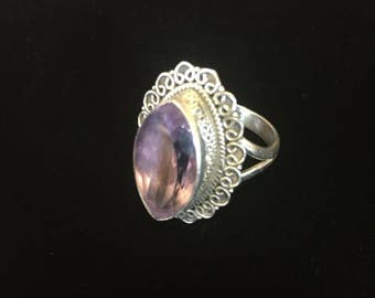 Sterling silver amethyst ring, Size 7.5,  weight 6.4 grams