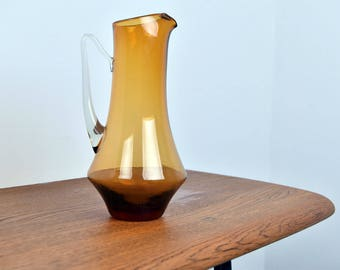 Beautiful Vintage Handblown Amber Glass Water Pitcher/Vase